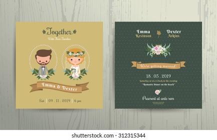 Invitation anniversaire images stock photos vectors shutterstock wedding invitation card cartoon bride and groom portrait on wood background stopboris Choice Image