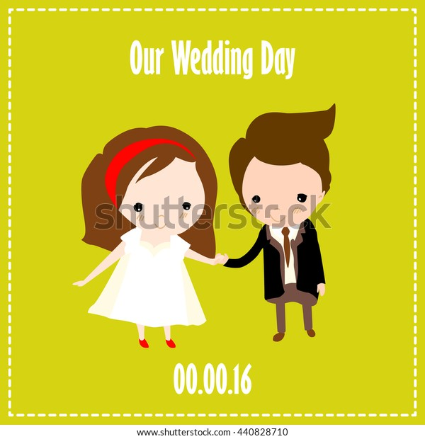 Wedding Invitation Card Cartoon Characters Vector Stock