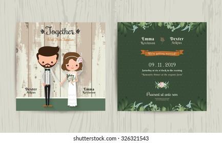 Wedding invitation card cartoon hipster bride and groom on wood background