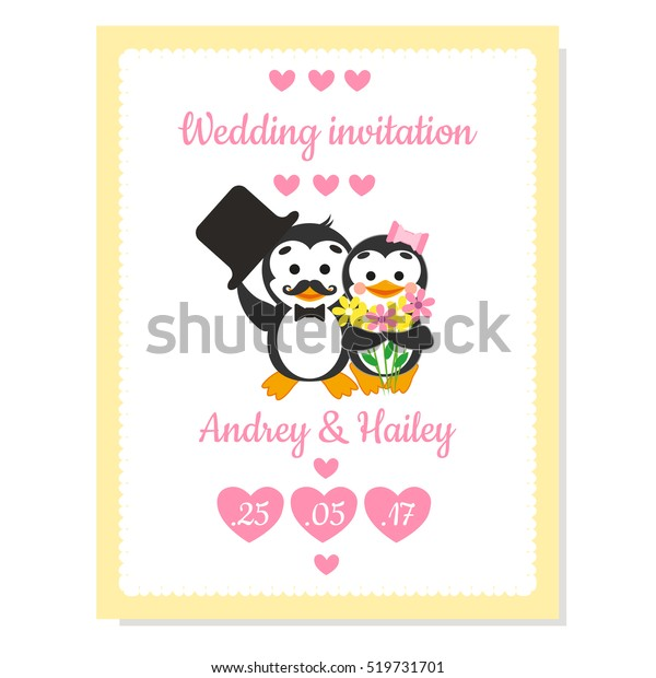 Wedding Invitation Card Cartoon Penguins Stock Vector