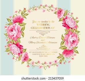 Wedding invitation card of color flowers. Vector illustration.