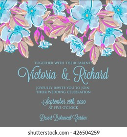 Wedding invitation card with daisy and rose-dog flower Template. Vector  invitation card with watercolor flowers elements and calligraphic letters. Wedding collection