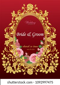 Wedding invitation card decorated with baroque metal elements and pink roses on red background.