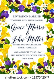 Wedding invitation card, decorated by spring flower frame. Blooming crocus, jasmine, pansy and calla lily floral border with text layout in center for marriage celebration party festive banner design