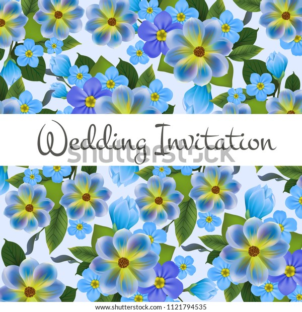 Wedding invitation card design with blue flowers in background. Text on white banner can be used for invitations, postcards, save the date templates