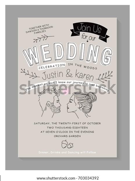Wedding Invitation Card Design Editable Vector Stock Vector