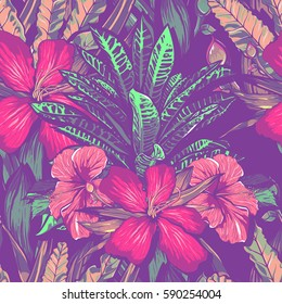 Wedding invitation or card design with exotic tropical flowers and leaves. vector