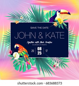 Wedding invitation card design with exotic tropical leaves. Save the date. Vector illustration.