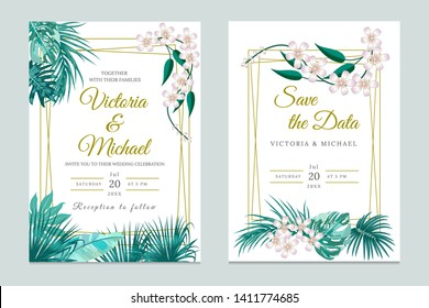 Wedding invitation card design, floral invite. Tropical jungle leaves elegant  frame set,  green plants, palm tree leaves. Modern decorative greeting card or invitation design vector background.