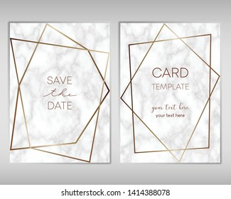 Wedding Invitation card design with golden frames and marble texture. Luxury marble with gold geometric frame design template.