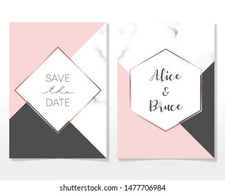 Wedding Invitation card design with golden frames and marble texture. Luxury marble with rosegold geometric frame business card design template.