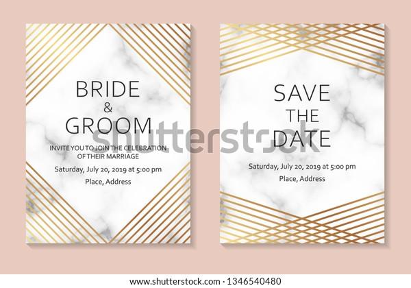 Wedding Invitation Card Design Golden Lines Stock Vector