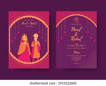 Wedding Invitation Card Design With Indian Couple Character In Pink And Purple Color.