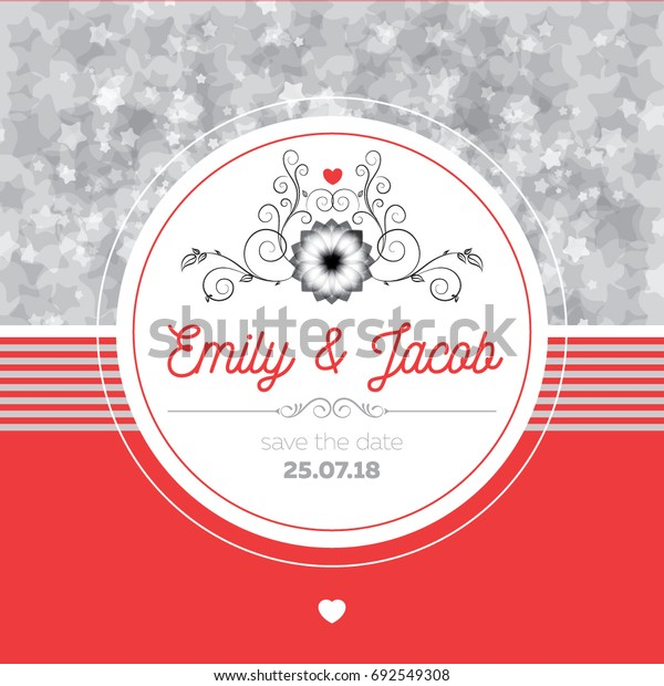 Wedding Invitation Card Design Silver Stars Stock Vector Royalty
