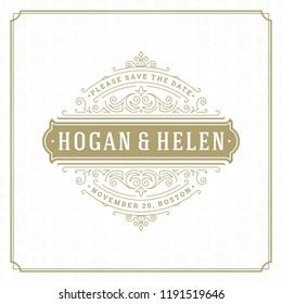 Wedding invitation card design template vector illustration. Wedding save the date title vintage typographic badge.