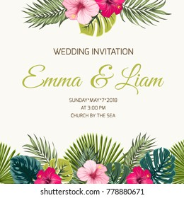 Wedding invitation card design template. Exotic tropical greenery leaves and bright pink red purple hibiscus flowers. Top bottom border frame decoration. Text placeholder. Vector illustration.