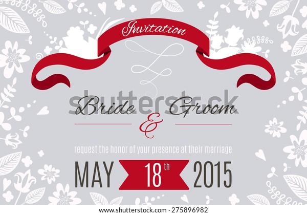 Wedding Invitation Card Design Template Flowers Royalty