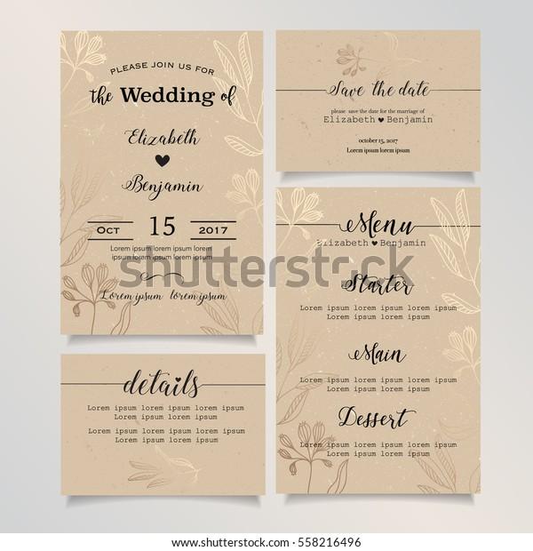 Wedding Invitation Card Details Card Save Stock Vector