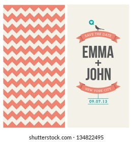 wedding invitation card editable with background chevron, font, type, ribbons, bird, and heart vector