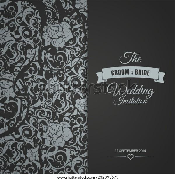 Wedding Invitation Card Editable Background Chevron Stock