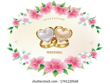 Wedding invitation card, floral background vector design with rings and hearts
