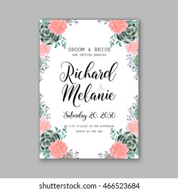 Wedding invitation or card with  floral  chrysanthemum and succulent
