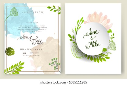 Wedding Invitation, Invitation card with  floral and green tropical modern card Design, decorative wreath & frame pattern. Vector elegant watercolor template