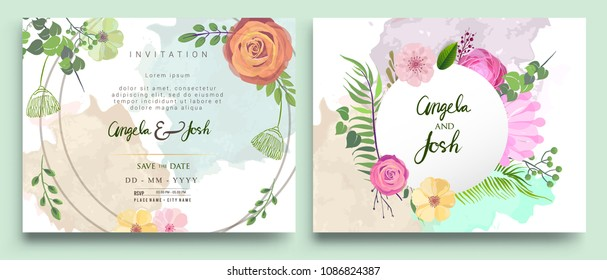 Wedding Invitation, Invitation card with floral and green tropical leaves, modern card Design, decorative wreath and frame pattern. Vector elegant watercolor template