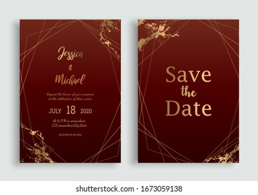 Wedding Invitation Card. Wedding Floral Invite Modern Card Design. Vector EPS 10.