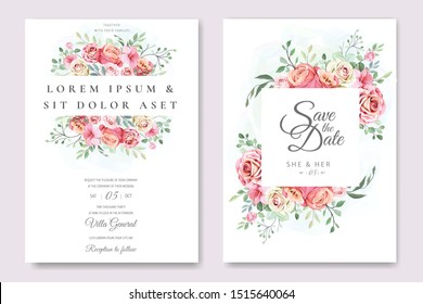 wedding invitation card with floral and leaves template
