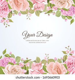 wedding invitation card with floral and leaves design