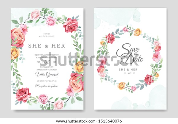 Wedding Invitation Card Floral Leaves Template Stock Vector