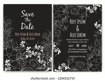 Wedding invitation card floral template collection.