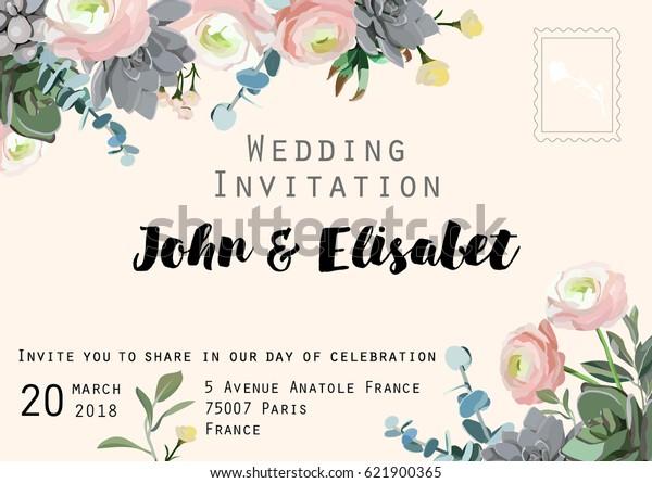 Wedding Invitation Card Flower Ranunculus Succulent Stock