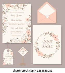 wedding invitation card with flower Templates. Set of Wedding Invitation Card.