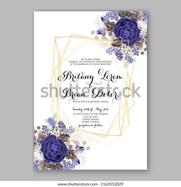 Wedding Invitation Card Flowering Navy Blue Stock Vector (Royalty ...