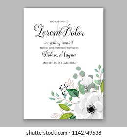 Wedding invitation card with flowering roses, plants, white anemone greenery flowers and leaves. Floral border pattern. Elegant vertical printable card template. Vector illustration.