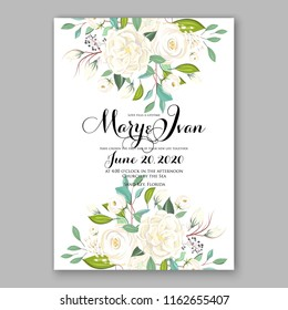 Wedding invitation card with flowering roses, white peony ranunculus greenery flowers and leaves. Floral border pattern. Elegant vertical printable card template. Vector illustration