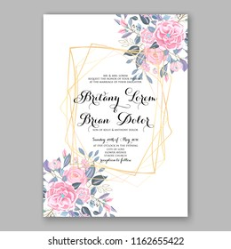 Wedding invitation card with flowering roses, pink peony ranunculus greenery flowers and leaves. Floral border pattern. Elegant vertical printable card template. Vector illustration