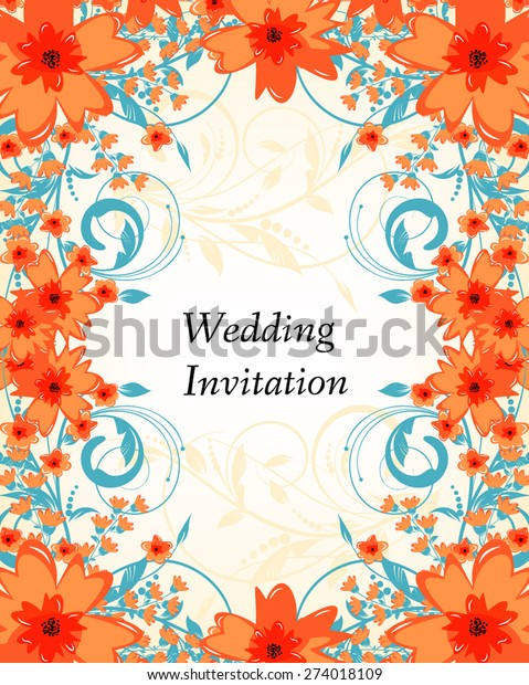 Wedding Invitation Card Flowers Abstract Colorful Stock