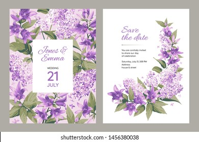 Wedding invitation card. Frame with text and flowers - purple Campanula and Lilac on light and white Background.