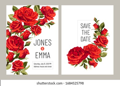 Wedding invitation card. Frame with text and flowers - red Roses on white background.
