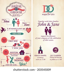 wedding invitation card front back infographic stock vector royalty