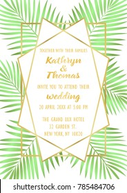 Wedding invitation card with gold geometric artdeco frame and palm leaves with watercolor effect. Romantic exotic A4 mock up, template for greeting, birthday, valentines, posters with text place.