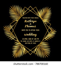 Wedding invitation card with gold geometric artdeco element and palm leaves. Luxury exotic square mock up, template for greeting, birthday, valentines cards, posters with text place.