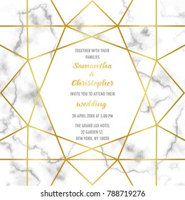 Wedding invitation card with gold geometric artdeco element on marble background. Luxury mock up, template for greeting, birthday, valentines cards, posters with text place.