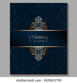 Wedding invitation card with gold shiny eastern and baroque rich foliage. Royal blue Ornate islamic background for your design. Islam, Arabic, Indian, Dubai