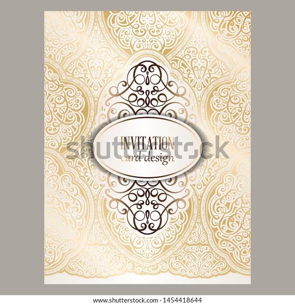 Wedding Invitation Card Gold Shiny Eastern Stock Vector