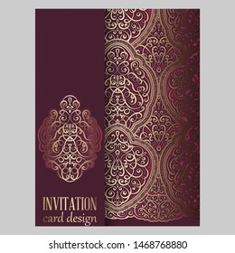 Wedding invitation card with gold and velvet red shiny eastern and baroque rich foliage. Ornate brocade background for your design. Intricate design template.