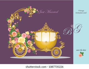 Wedding invitation card with golden baroque metal element and carriage decorated with roses